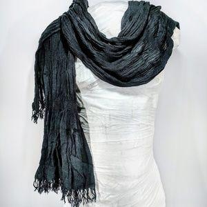 H&M black stretchy fringed long scarf